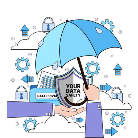 data safety cloud shield hand hold umbrella over synchronization General Data Protection Regulation GDPR server security guard on white background flat vector illustration