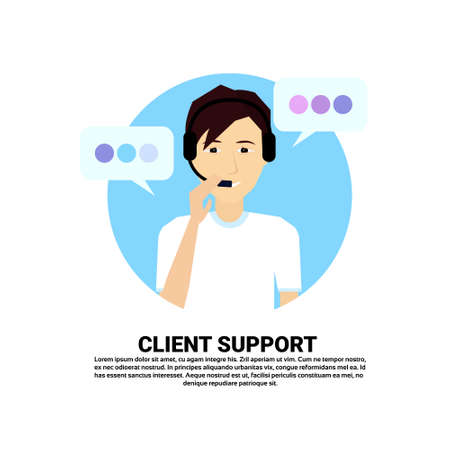 call center headset agent man client support online operator, customer and technical service icon, chat concept, copy space flat design