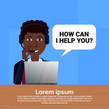 african american call center headset agent woman bubble client support online operator, customer and technical service icon, chat concept, copy space flat design vector illustration  イラスト・ベクター素材