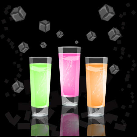 glasses of colorful drinks with ice cubes, set of summer tropical cocktail isolated on black background vector illustration