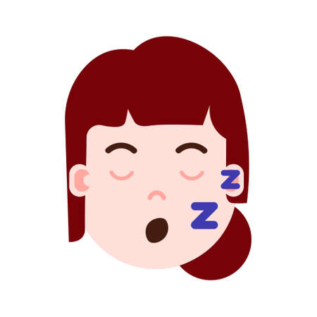 girl head with facial emotions, avatar character, woman sleep face with different female emotions concept. flat design. vector illustration