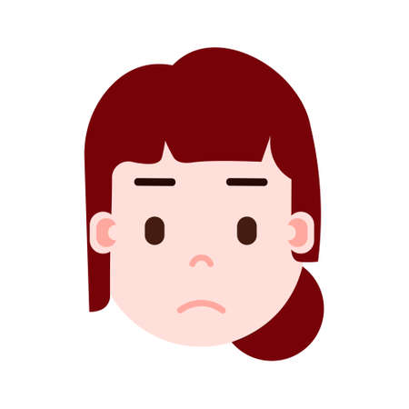 girl head emoji with facial emotions, avatar character, woman sorrowful face with different female emotions concept. flat design. vector illustration