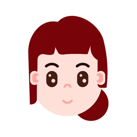 girl head with facial emotions, avatar character, woman surprised face with different female emotions concept. flat design. vector illustration