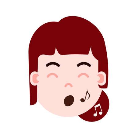 icône de personnage emoji tête fille avec émotions faciales, personnage avatar, femme spectacle visage chantant avec différentes émotions féminines concept design plat. illustration vectorielle Vecteurs