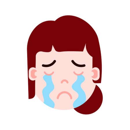 icône de personnage emoji tête fille avec émotions faciales, personnage avatar, femme qui pleure le visage avec le concept de différentes émotions féminines. design plat. illustration vectorielle