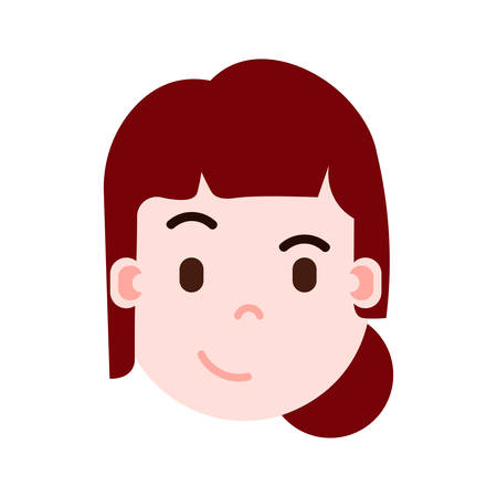 girl head emoji personage icon with facial emotions, avatar character, woman cunning face with different female emotions concept. flat design. vector illustration