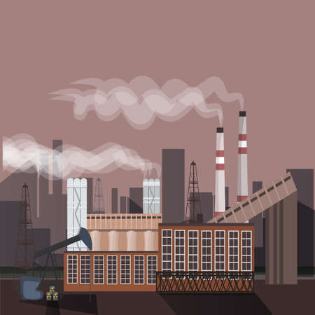 Factory building nature pollution plant pipe waste. silhouette of an oil drilling rig. flat vector illustration Vettoriali