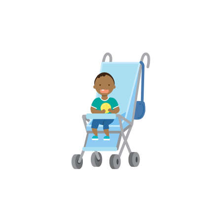 african baby boy with toy blue stroller full length avatar on white background, successful family concept, flat cartoon vector illustration