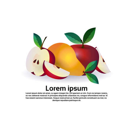 apple and pear on white background, healthy lifestyle or diet concept