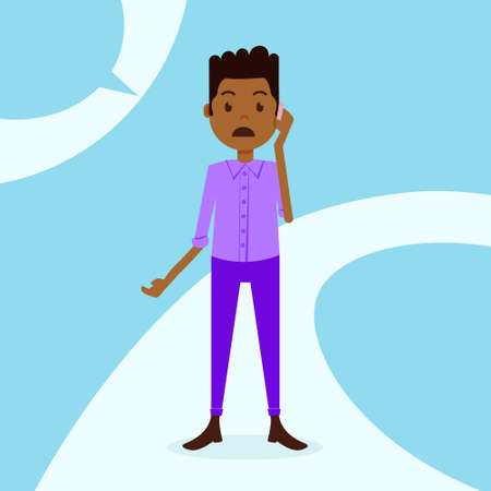african teen boy character sad phone call male violet suit template for design work and animation on blue background full length flat person, vector illustration