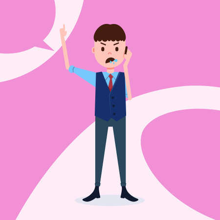 teen boy character angry phone call male business suit template for design work and animation on pink background full length flat person vector illustration