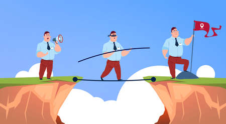 Businessman speak in megaphone, goes along a rope closed eyes to business man with geolocation flag over abyss mountain risk assessment concept, flat vector illustration