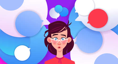 profile surprised face new idea chat support over bubbles backgroung female emotion avatar, woman cartoon icon portrait flat vector illustration Illustration