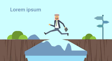 arab businessman jumping over obstacles over chasm go to the opposite goal concept. business success. challenge, risk, and overcome problem or obstacles. vector illustration.