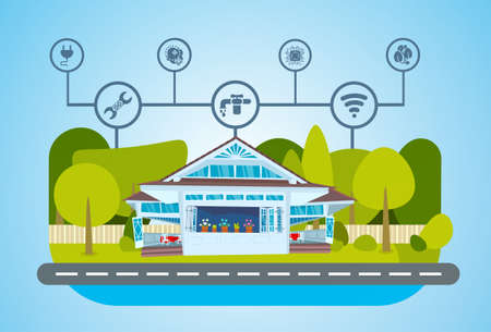 smart house green energy technology system centralized control of lighting, heating, ventilation and air conditioning, electricity, internet. smart home concept, flat, vector illustration Illustration
