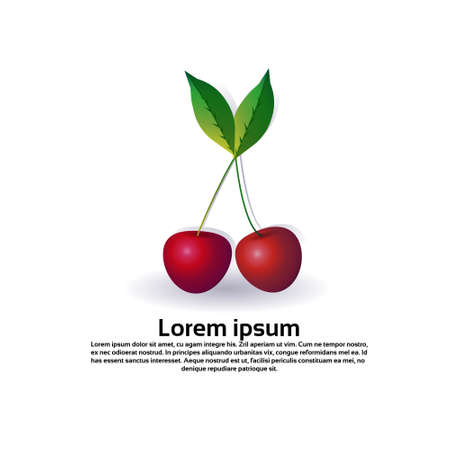 cherry fruit on white background, healthy lifestyle or diet concep