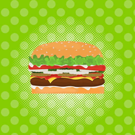 hamburger street festival, fast food menu seamless pattern background cooking collection concept vector illustration Illustration