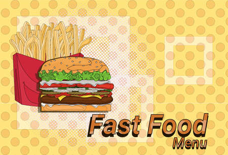 hamburger french fries street festival, fast food menu seamless pattern background cooking collection concept vector illustration