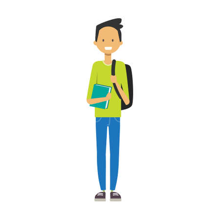 casual boy with backpack hold book, student full length avatar on white background, successful study concept, flat cartoon design vector illustration