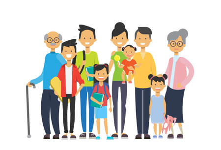 multi generation family together, grandfather grandmother and grandchildren on white background, tree of genus happy family concept, flat cartoon design vector illustration