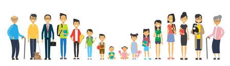 Mehrgenerationenfamilie auf weißem Hintergrund. Eltern und Großeltern, Jugendliche und Kinder, Baum der Gattung glückliches Familienkonzept, flache Karikaturentwurfvektorillustration