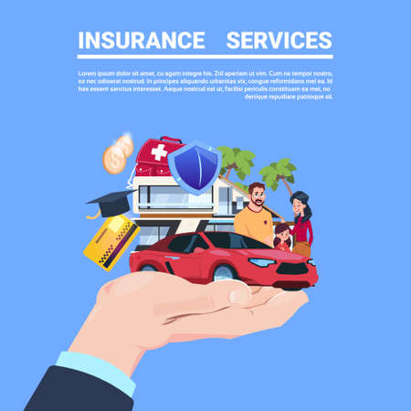 insurance service protection concept hand car life home medical financial policy contract on blue background flat copy space vector illustration