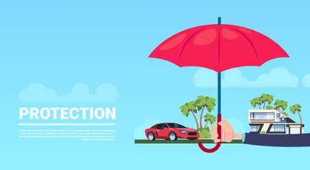 verzekering service hand paraplu beschermende huis auto op blauwe achtergrond platte kopie ruimte banner vectorillustratie