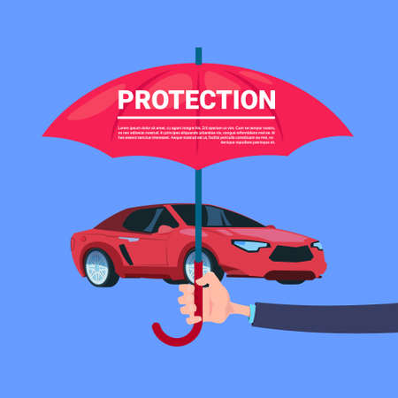 insurance service hand umbrella protective car on blue background flat copy space vector illustration