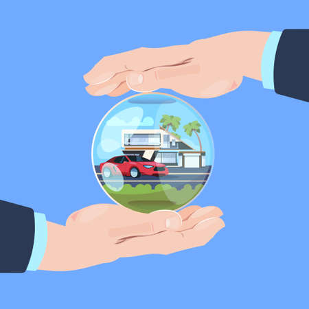 insurance service hand protective gesture bubble car house on blue background flat vector illustration