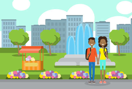 african teenager boy girl couple in love, portrait avatar over city park ice cream fountain flowers green lawn trees template background flat vector illustration