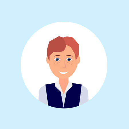 carroty freckles man face happy portrait on blue background, male avatar flat vector illustration 向量圖像