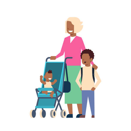 african grandmother with baby grandchildren in stroller, multi generation family, full length avatar on white background, successful family concept, tree of genus flat cartoon design vector illustration