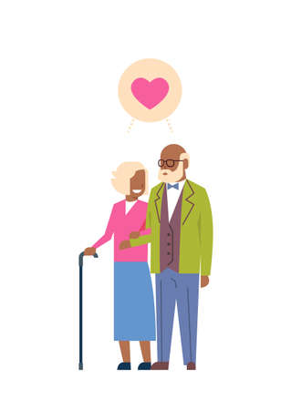 african grandparents couple in love, full length avatar on white background, successful family concept, tree of genus flat cartoon design vector illustration