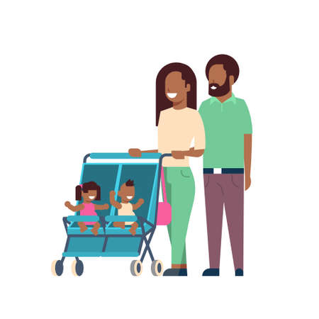 african father mother baby twins double stroller full length avatar on white background, successful family concept, flat cartoon vector illustration