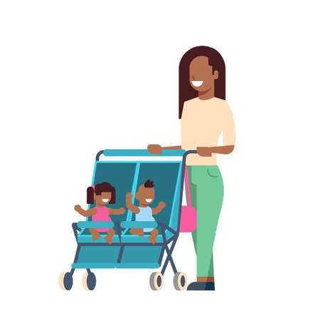 african mother baby sister brother twins double stroller full length avatar on white background, successful family concept, flat cartoon vector illustration Illustration