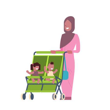 arab mother baby sister brother twins double stroller full length avatar on white background, successful family concept, flat cartoon vector illustration