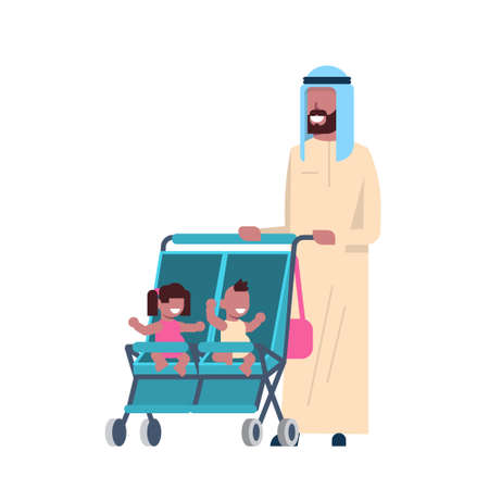 arab father beard baby sister brother twins double stroller full length avatar on white background, successful family concept, flat cartoon vector illustration