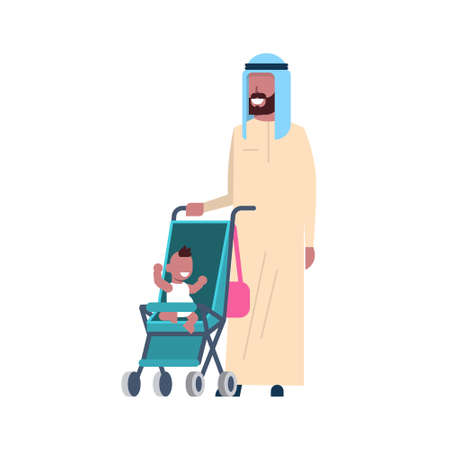 arab father beard with baby son in stroller full length avatar on white background, successful family concept, flat cartoon vector illustration