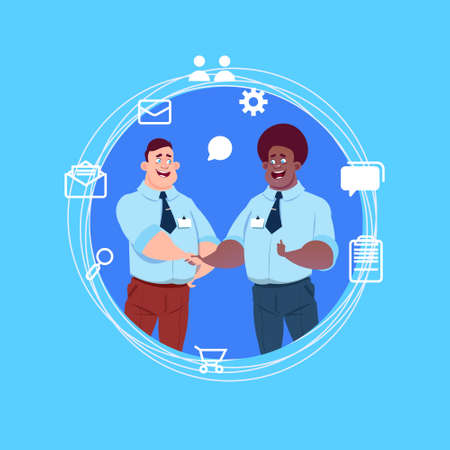 two mix race business men handshake over blue chat icons background agreement concept flat vector illustration