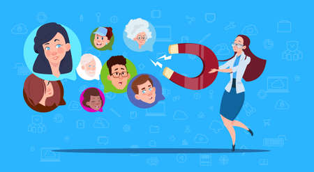 woman hold magnet mix race chat bubbles, support virtual assistance of website or mobile applications, pulling concept flat Vector Illustration