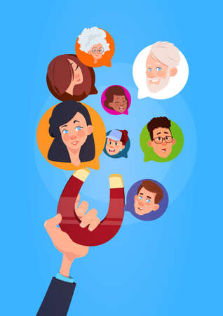human hand hold magnet mix race chat bubbles, support virtual assistance of website or mobile applications, pulling concept flat Vector Illustration Vettoriali