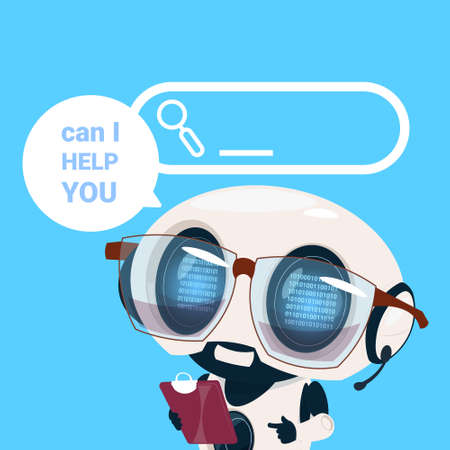 support center headset agent robot client online operator, artificial intelligence customer and technical service icon, chat concept, flat design vector illustration