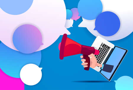 laptop hand hold megaphone new idea chat support over bubbles background, pulling concept flat vector illustration