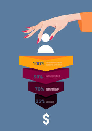 woman hand hold human icon sales funnel stages business infographic. purchase diagram concept over blue background copy space flat design vector illustration