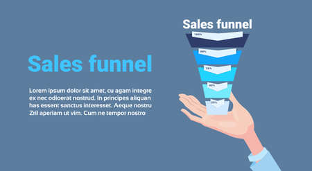 hand hold sales funnel with steps stages business infographic. purchase diagram concept over blue background copy space flat design vector illustration Illustration
