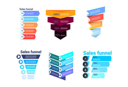 set divercity sales funnel with steps stages business infographic. purchase diagram concept over white background copy space flat design vector illustration 일러스트