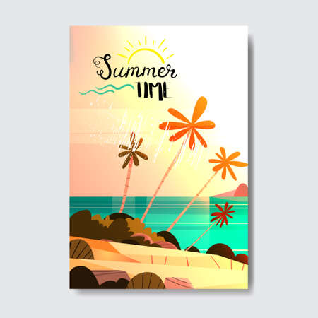 summer vacation tropical sunset beach badge design label. s season holidays lettering for templates, invitation, greeting card, prints and posters. Ilustração