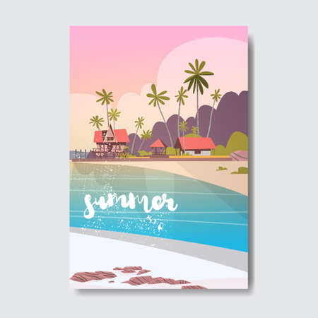 welcome summer house hotel palm tree beach badge design label.  season holidays lettering for templates, invitation, greeting card, prints and posters.