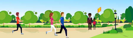 public park mix race people relax wooden bench outdoors running green lawn trees on nature template background flat banner vector illustration