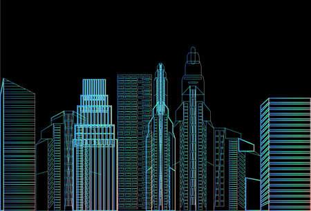 night city skyscraper view nature pollution over cityscape white background skyline flat vector illustration Illustration